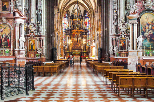 Interior view of St. Stephen's Cathedral in Vienna, Austria