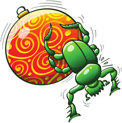 Green dung beetle pushing a Christmas ball