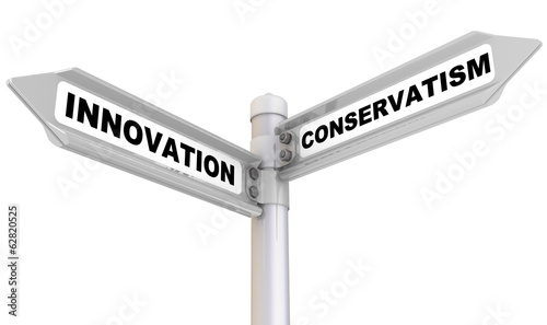 Innovation and conservatism. Road sign