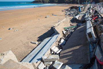 Damages in Lekeitio after hurricane Christine