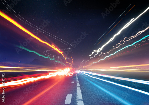 canvas print picture Urban Traffic Light Trails
