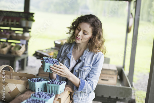 An organic fruit and vegetable farm. A woman sorting punnets of blueberries.