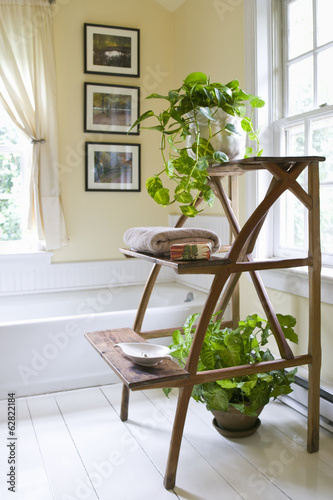A domestic bathroom, with white traditional bath, and wooden stand for towels and houseplants.