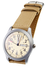 Beige wristwatch closeup