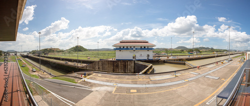 Gates and basin of Miraflores Locks Panama Canal