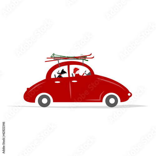 Man and dog in red car with skis on the roof rack