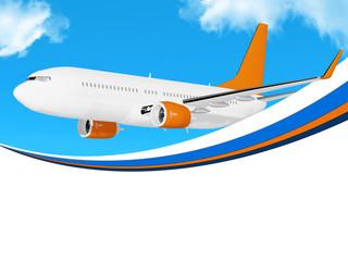 Plane on blue sky frame