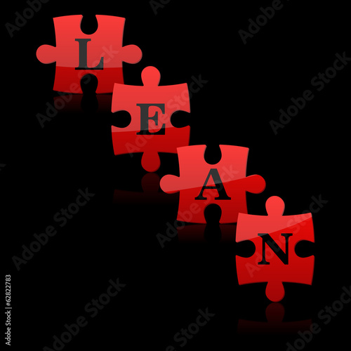 Red puzzles with word lean on the black background