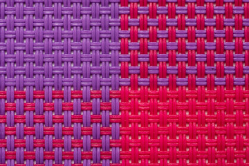 Four Colors Quarters Pattern Of Raffia Texture Macro