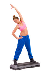 Stretching on aerobic step