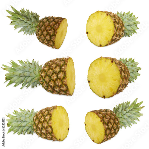 Set of Ripe pineapple. Isolated on white
