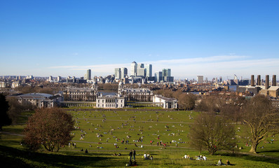 LONDON, CANARY WHARF UK - MARCH 16, 2014: view from hills