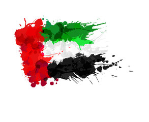 United Arab Emirates flag made of colorful splashes