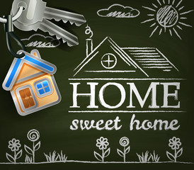Home sweet home. Poster with house. keys. flowers and sun
