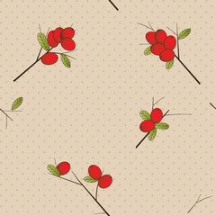 Seamless pattern with red berries