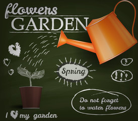 Flower garden poster. Don' forget to water flowers.