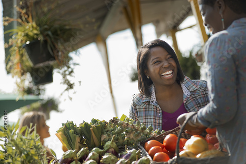 Women Working and Shopping at Organic Farm Stand