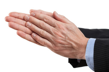 Businessman clapping his hands