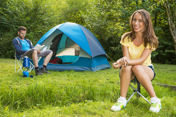 woman on camping