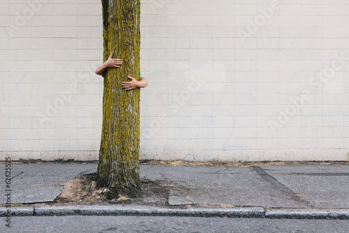 Man hugging tree on urban street and sidewalk