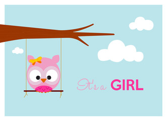baby shower card with pink owl on a swing hanging to the branch