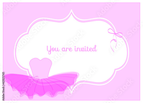 invitation birthday party card with pink leotard with tulle tutu