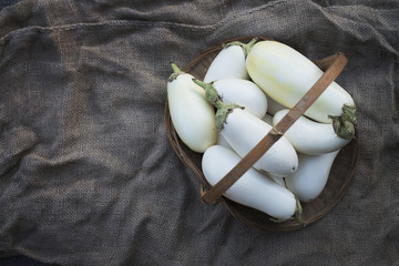 Organic White Eggplants just harvested