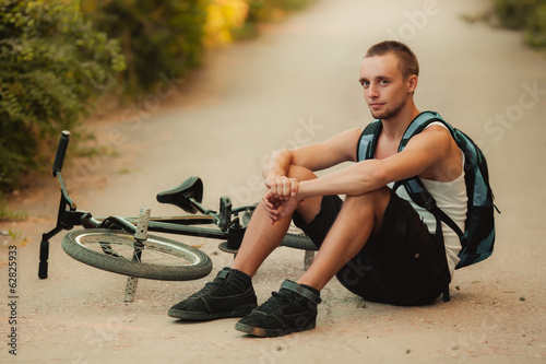 Young man on bike
