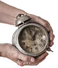 old hand and old clock