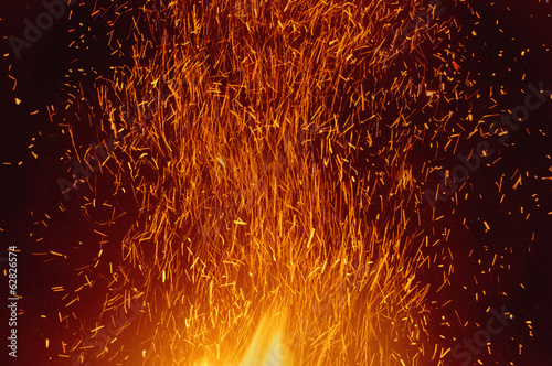 Sparks rising from bonfire, Bonny Doon, Monterey Bay, California