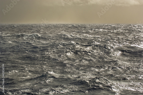 Stormy seas of Drake Passage, the water channel between Antarctica and the tip of South America, which is where the waters of the Atlantic and Pacific oceans meet.