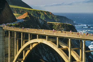 Big Sur Marathon runners on Bixby bridge, Big Sur, California