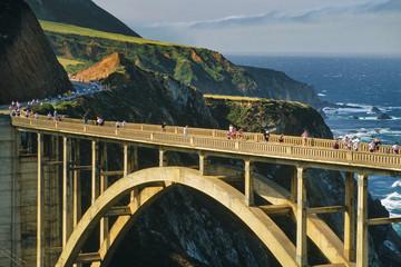 Big Sur Marathon runners on Bixby bridge, Big Sur, California