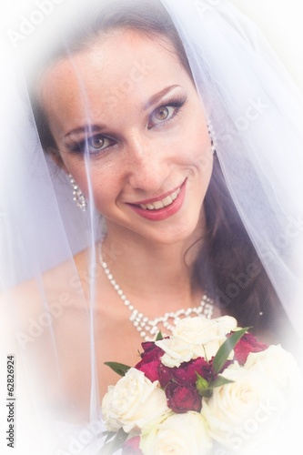 happy eyes of beautiful bride