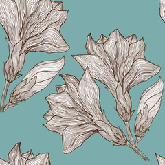 Vector floral seamless pattern in vintage style - flower