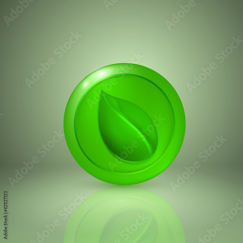 Green leaf. Icon for app or web design
