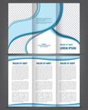 Vector empty trifold brochure print template blue design poster