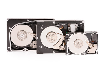 opened hard disk drive isolated on white background
