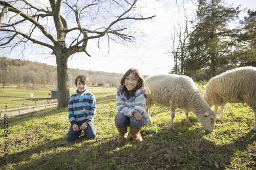 Two children at an animal sanctuary, in a paddock with sheep.