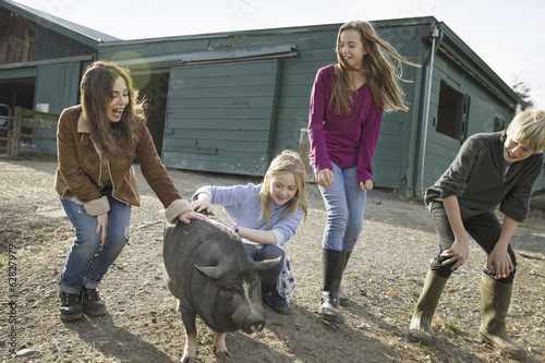 Three children and a young woman with a large pig, in the pigpen at an animal sanctuary.