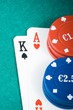 poker cards and gambling chips on green gaming table