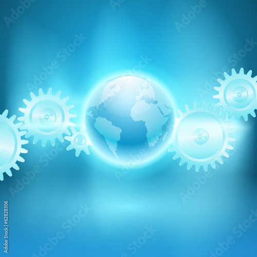 Abstract blue background with gear transmission and the globe