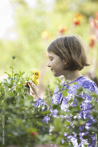 A young girl in a  blue dress picking flowers in a garden.