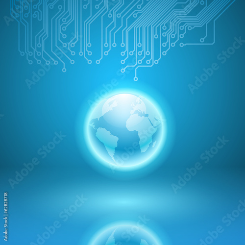 Abstract electronics blue background with circuit board texture