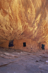 The House On fire ruins at Cedar Mesa, is a natural landmark, a cliff mesa rock formation with a spectacular natural pattern on the rock.