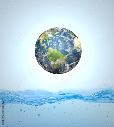 Earth falling into water (Elements of this image furnished by NA