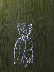 A line drawing image on a natural wood grain background.  A bunch of carrots with leafy tops.