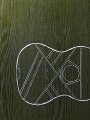 A line drawing image on a natural wood grain background.  The sound board and body of a musical instrument, a guitar.