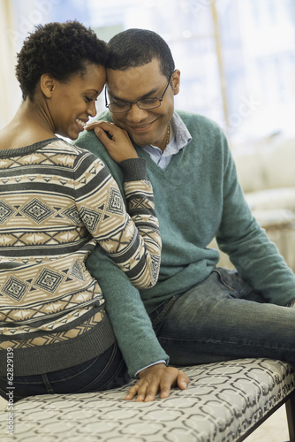 Couple relaxing at home connecting