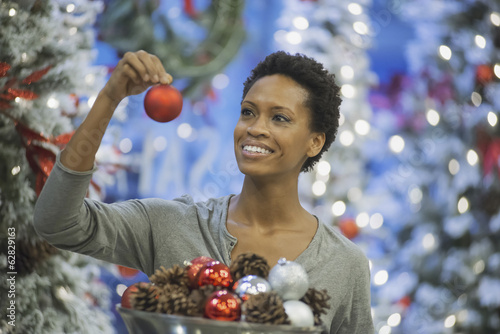 Woman at home decorating for Holidays